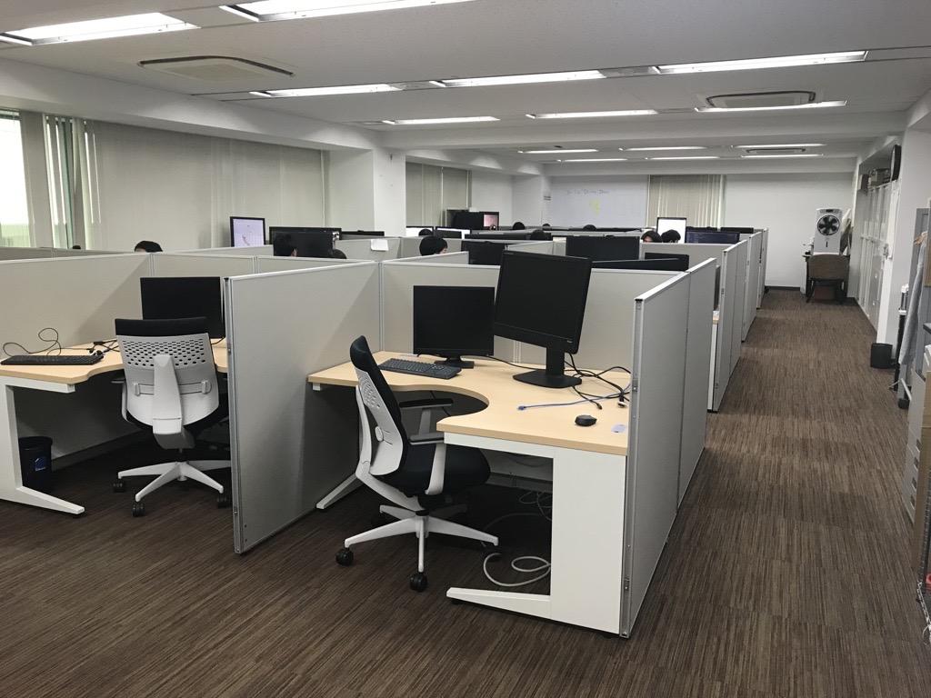 机の上にある沢山の椅子がある部屋  中程度の精度で自動的に生成された説明